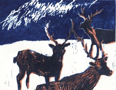 winter woodcut