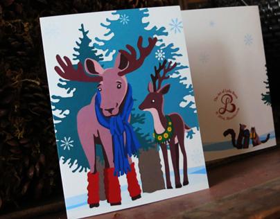 Winter Moose and Deer