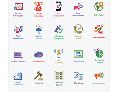 Flat SEO Icons and Internet Marketing Icons Set