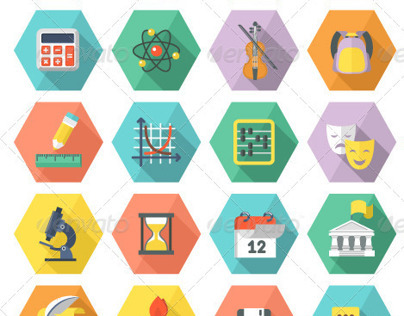 Flat Education and Leisure Icons in Hexagons