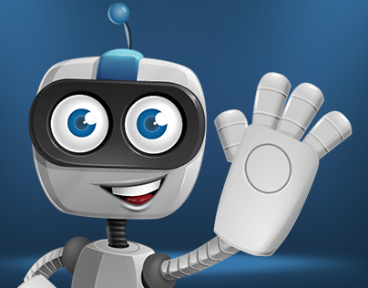 Robot on Wheels Cartoon Character