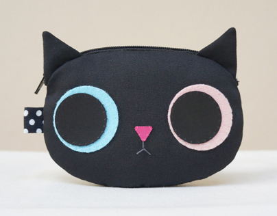 Black kitty coin purse