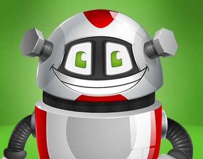 Chubby Robot Cartoon Character