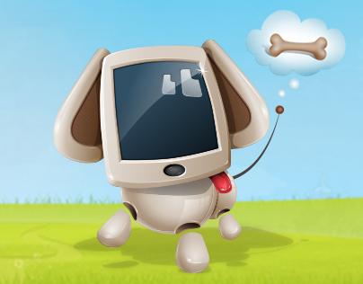 Cute Dog Robot Cartoon Character