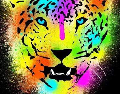 POP Tiger - Colorful Paint Splatters and Drips Portrait