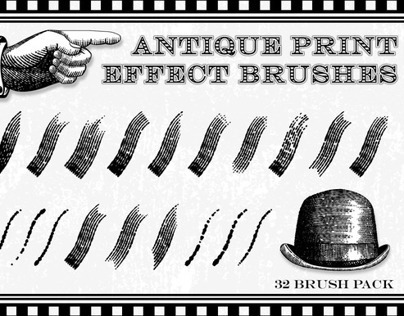 Antique Print Effect Brushes for Illustrator