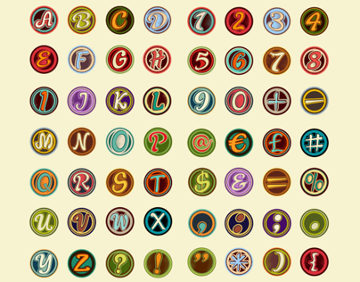 Vintage Badge Alphabet, Numbers and Symbols