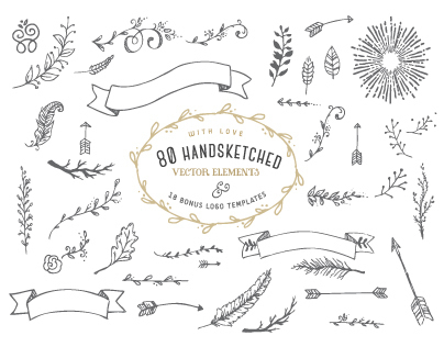 80 Handsketched Vector Elements and Logo templates