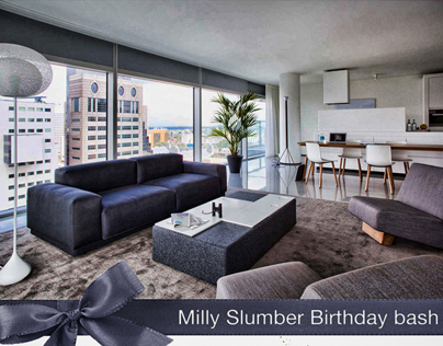 Milly Slumber Birthday Bash | Poster design
