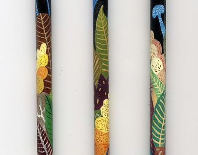 Inca Pan`s scenes painted on pencils