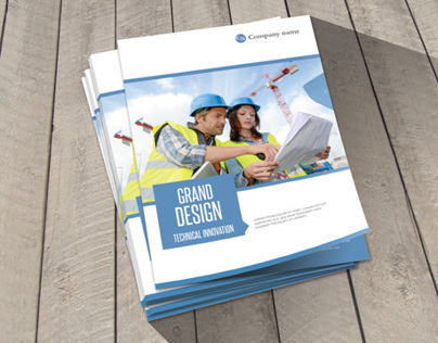Modern Construction Bifold Brochure Template
