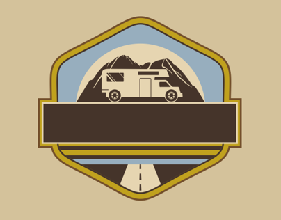 Vintage RV Camper Badges with Mountains