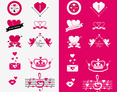 Hipster Valentine Badges and Icons
