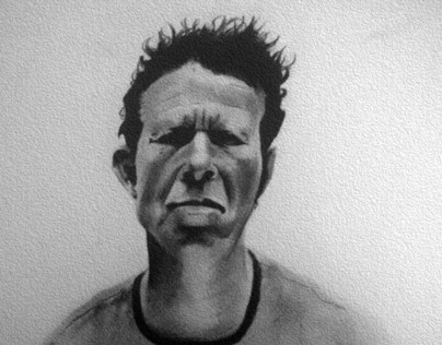 Tom Waits Black and White Portrait (pencil)