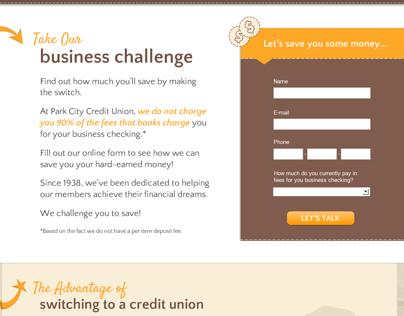 Park City CU Business Challenge Landing Page