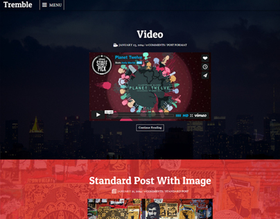 Tremble - Parallax Blogging Theme