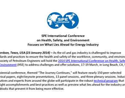 Society of Petroleum Engineers Press Release