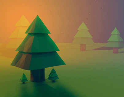 Low Poly Night Scene - Layerform Artwork