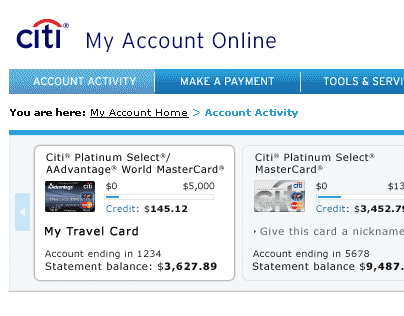 Citicards.com: My Account Online (2005)