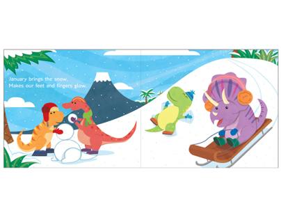 The Dinosaurs Garden Year Childrens Book Spread