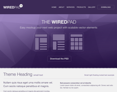 WiredPad Wireframe PSD (Purple)