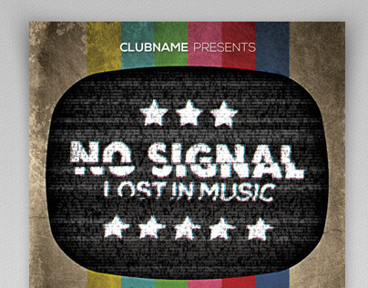 No Signal Retro Party Flyer Template