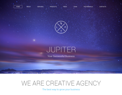 Jupiter Creative Agency. One Page PSD Template.