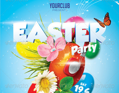 Easter Party A5 Flyer Template PSD