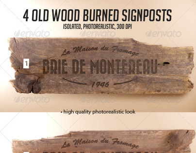 4 Old Wood Burned Signposts Boards Isolated Mockup PSD