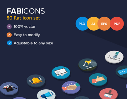 80 Fresh Flat Vector Icons