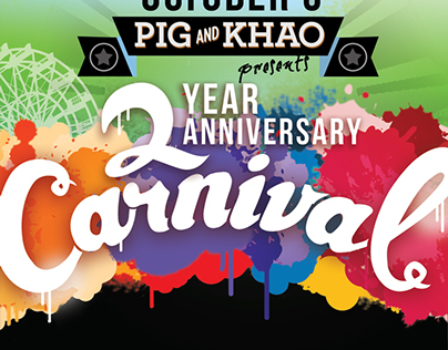 One Year Anniversary flyer for Pig and Khao in the LES