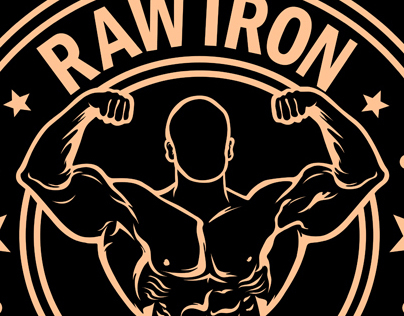 RAW IRON Gym Wear logos