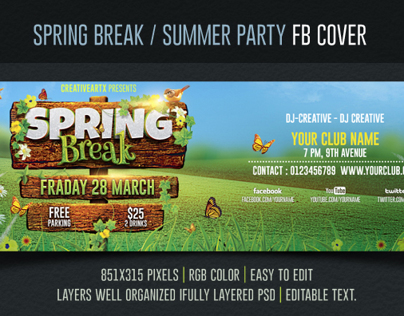 Spring Break / Summer Party Facebook Cover