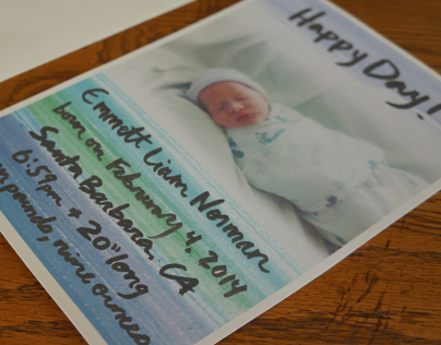 Hand Lettered, Watercolor, Birth Announcement