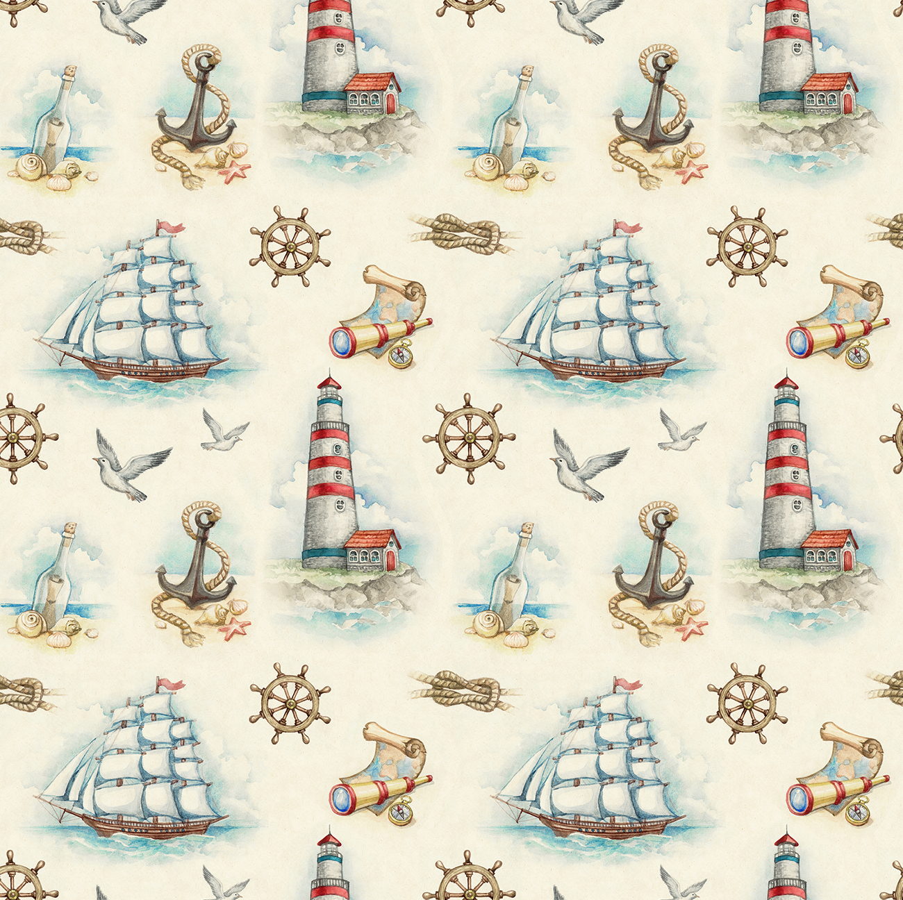 Nautical illustrations, invitations and patterns