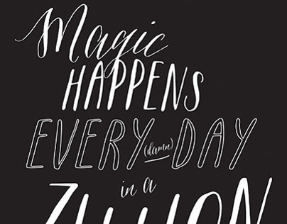 Magic Happens Calligraphy Poster