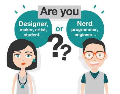 Designer VS Nerd / Characters & Infographic