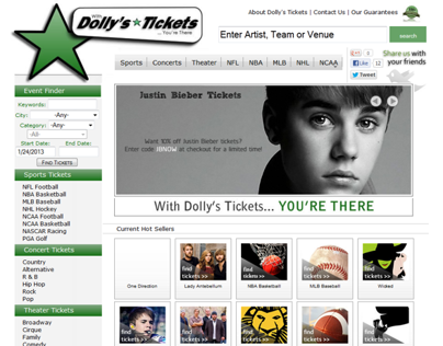 Dollys Tickets | Custom HTML Website