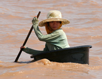 A girl at Tonle Sap lake, Cambodia.