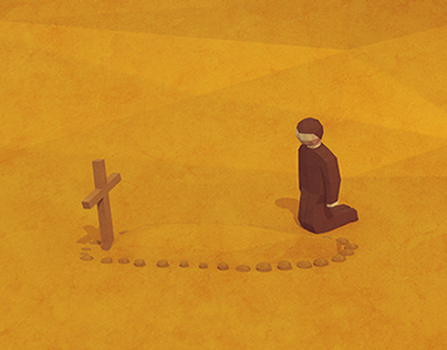 Scenes of losses series of low-poly illustrations