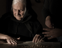 A journey in Sardinia, old ladies make pasta.