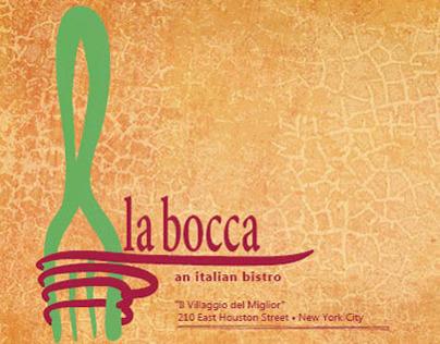 Identity and Menu: La Bocca Italian Bistro