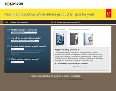 Adobe Product Selector for Amazon.com