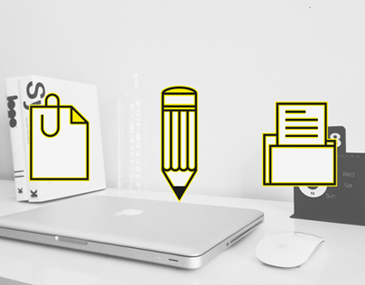 Office outline icon set