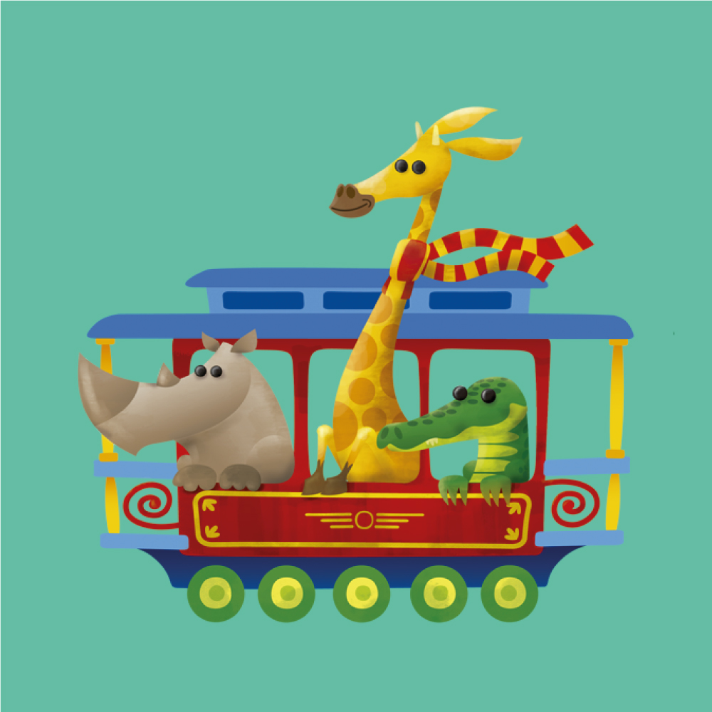 Childrens Book Illustration - Doggy Train
