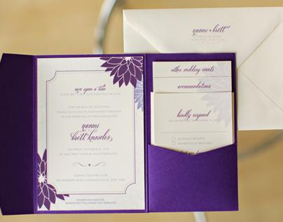 Purple Dahlia Wedding Invitations