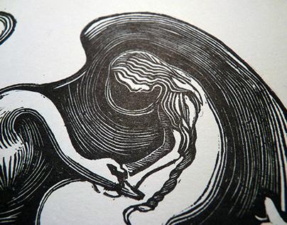 Wild swans linocut