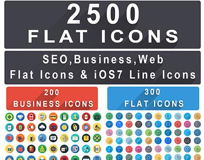 2500+ Flat Icons Bundle : Web Seo Business Finance Icon