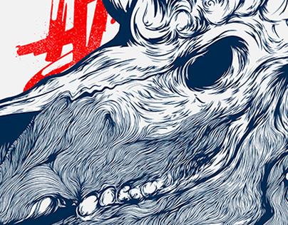 Undead Unicorn - high detailed digital print.