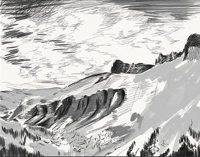 iPad sketch - Schluchhorn mountain